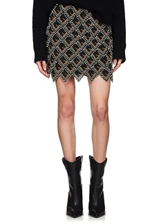 Fendi Women's Beaded Leather Miniskirt