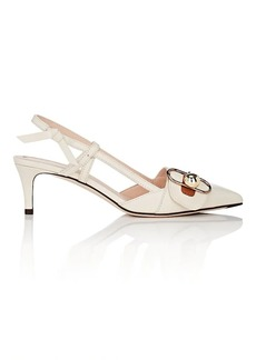 Fendi Women's Buckle-Strap Leather Slingback Pumps