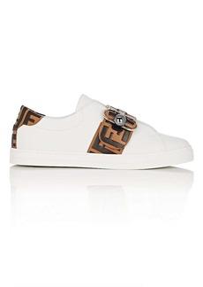 Fendi Women's Buckle-Strap Leather Sneakers