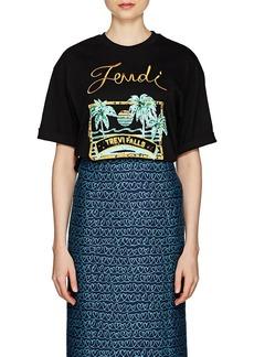 Fendi Women's Embellished Cotton Jersey T-Shirt