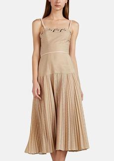 Fendi Women's Embellished Perforated Piqué Midi-Dress