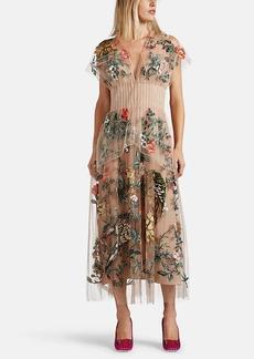 Fendi Women's Floral-Embellished Tulle Dress