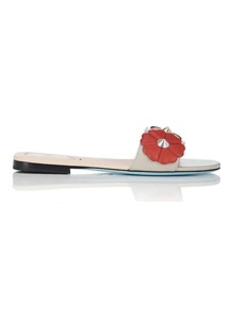 807bdca99e2510 Fendi Fendi Women s Flower-Embellished Leather Slide Sandals