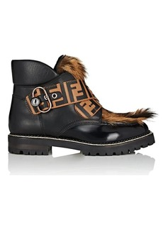 Fendi Women's Fur-Trimmed Leather Ankle Boots