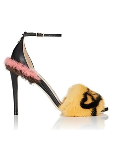 Fendi Women's Fur-Trimmed Leather Sandals