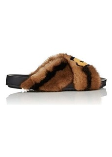 Fendi Women's Mismatched-Print Fur Slide Sandals