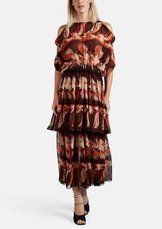 Fendi Women's Parakeet-Pattern Silk Chiffon Midi-Dress