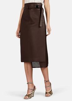 Fendi Women's Perforated-Inset Leather Midi-Skirt