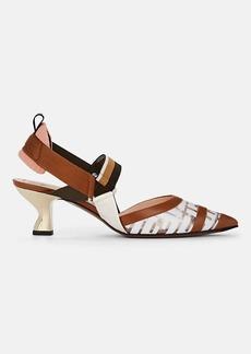 Fendi Women's Sculpted-Heel PVC & Leather Pumps