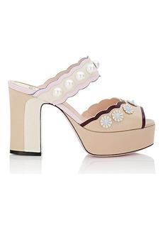 Fendi Women's Stud & Pearl-Embellished Leather Platform Sandals