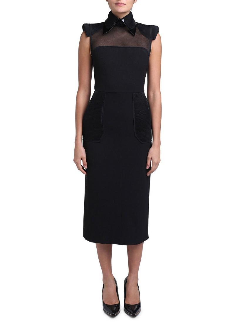 Fendi Wool Crepe Leather-Collar Strong-Shoulder Dress