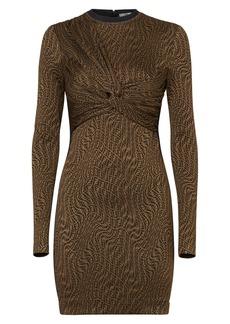 Fendi x Sarah Coleman FF Vertigo Twist Front Long Sleeve Jersey Dress