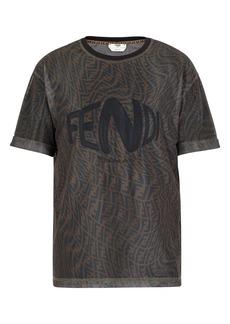 Fendi x Sarah Coleman Fisheye Logo Embroidered Mesh T-Shirt