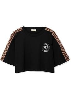 Fendirama Cropped Jacquard-trimmed Cotton-jersey T-shirt