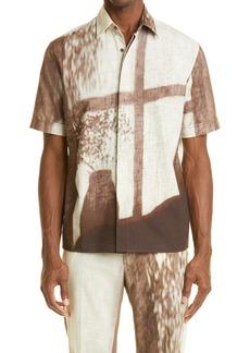 Fendi Fendy Shady Window Short Sleeve Button-Up Shirt