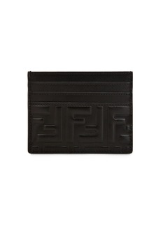 Fendi Ff Embossed Leather Card Holder