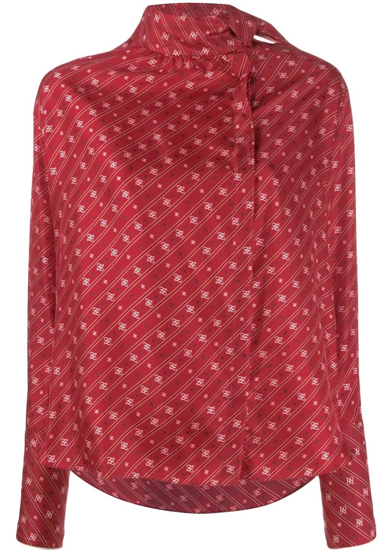 Fendi FF Karligraphy foulard collar blouse