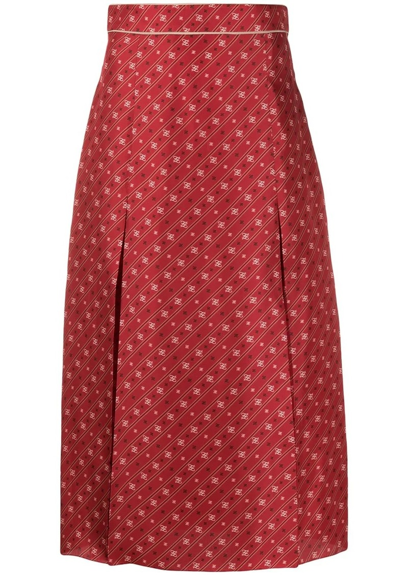 Fendi FF Karligraphy pleated midi skirt