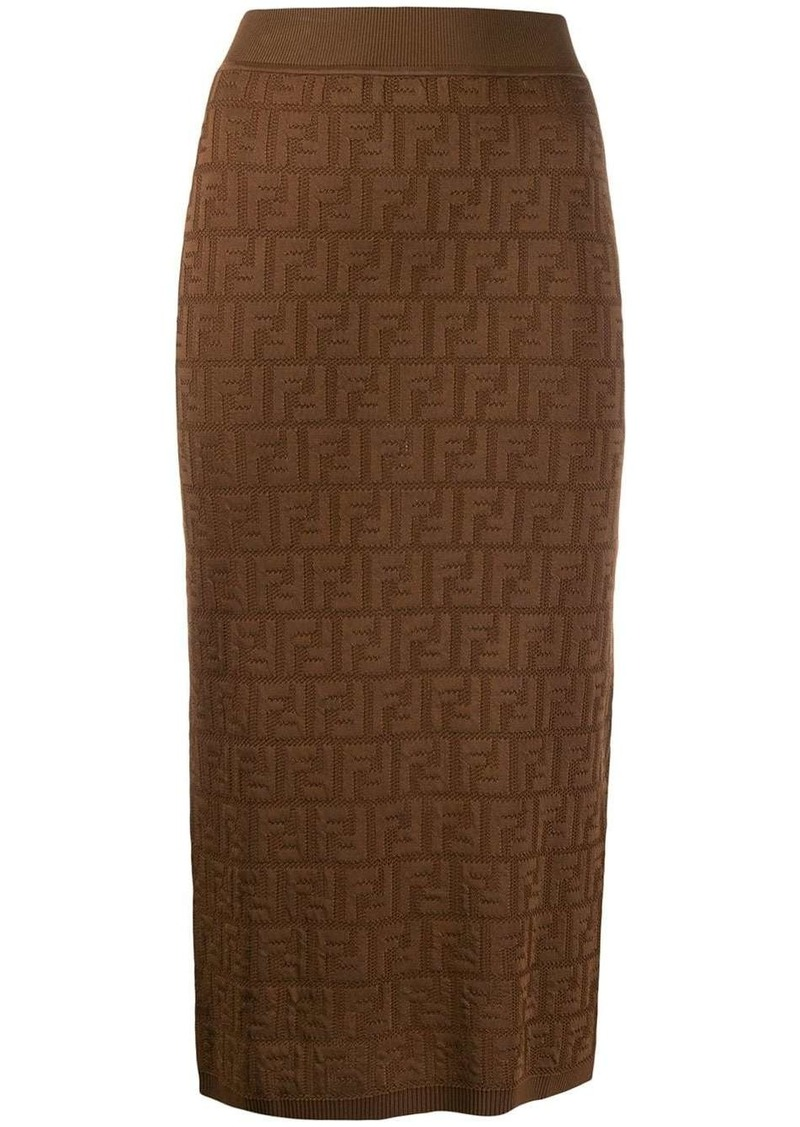 Fendi FF logo fitted skirt