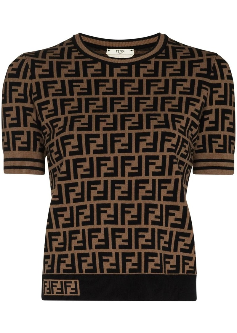 Fendi FF logo intarsia knit top