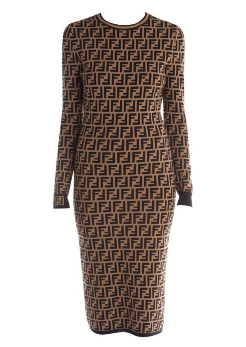 Fendi FF Logo Jacquard Sweater Dress