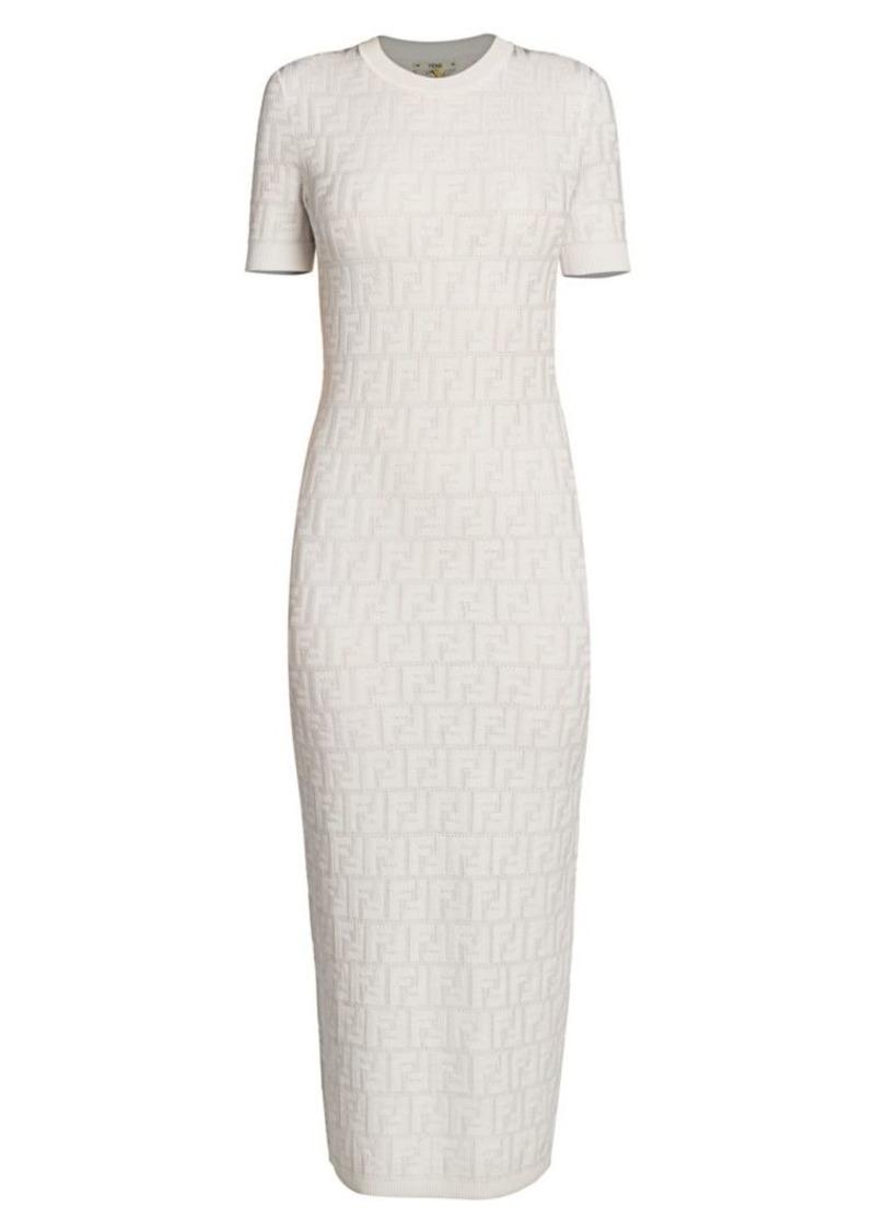 Fendi FF Logo Knit Midi Dress
