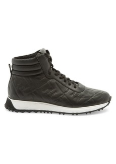 Fendi FF Logo Leather High-Top Sneakers