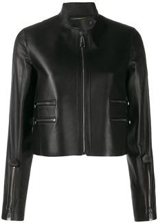 Fendi FF logo leather jacket