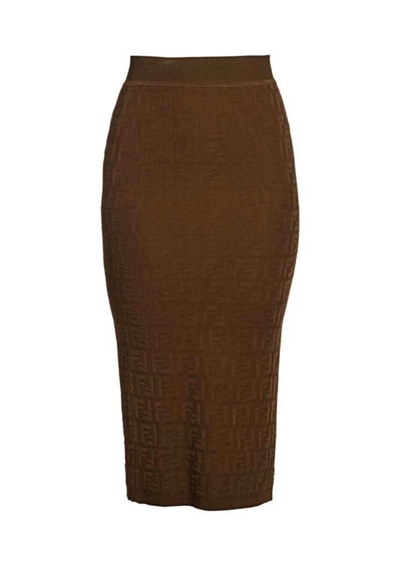 Fendi FF Logo Midi Pencil Skirt