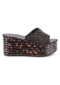 Fendi FF Logo Platform Wedge Sandals