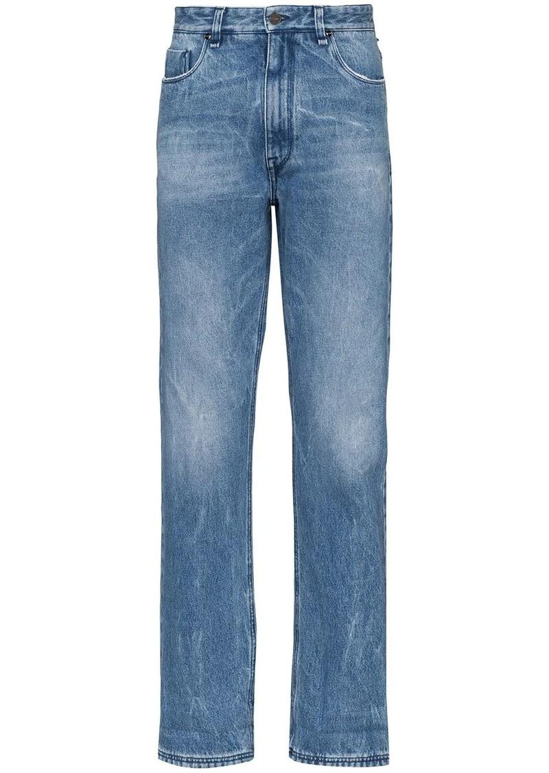 Fendi FF logo print turn-up jeans