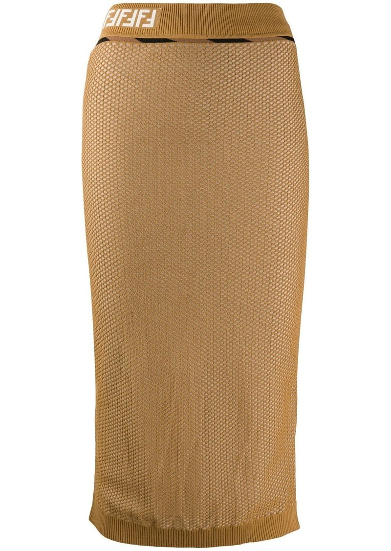 Fendi FF mesh pencil skirt