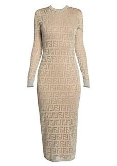 Fendi FF Metallic Logo Knit Midi Dress
