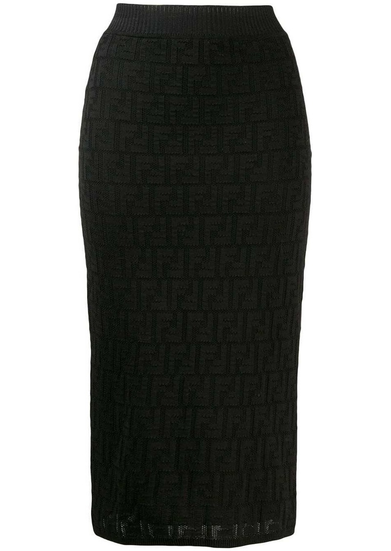 Fendi FF motif knit skirt