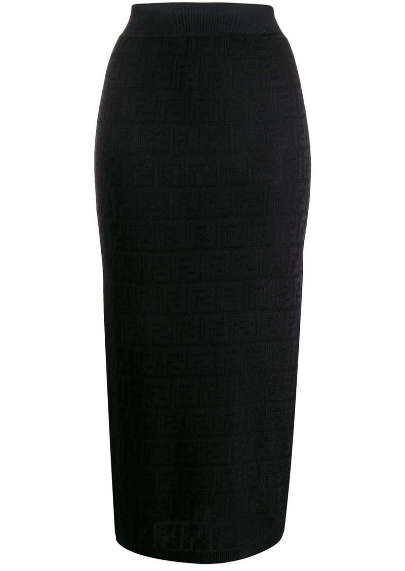 Fendi FF motif knitted pencil skirt