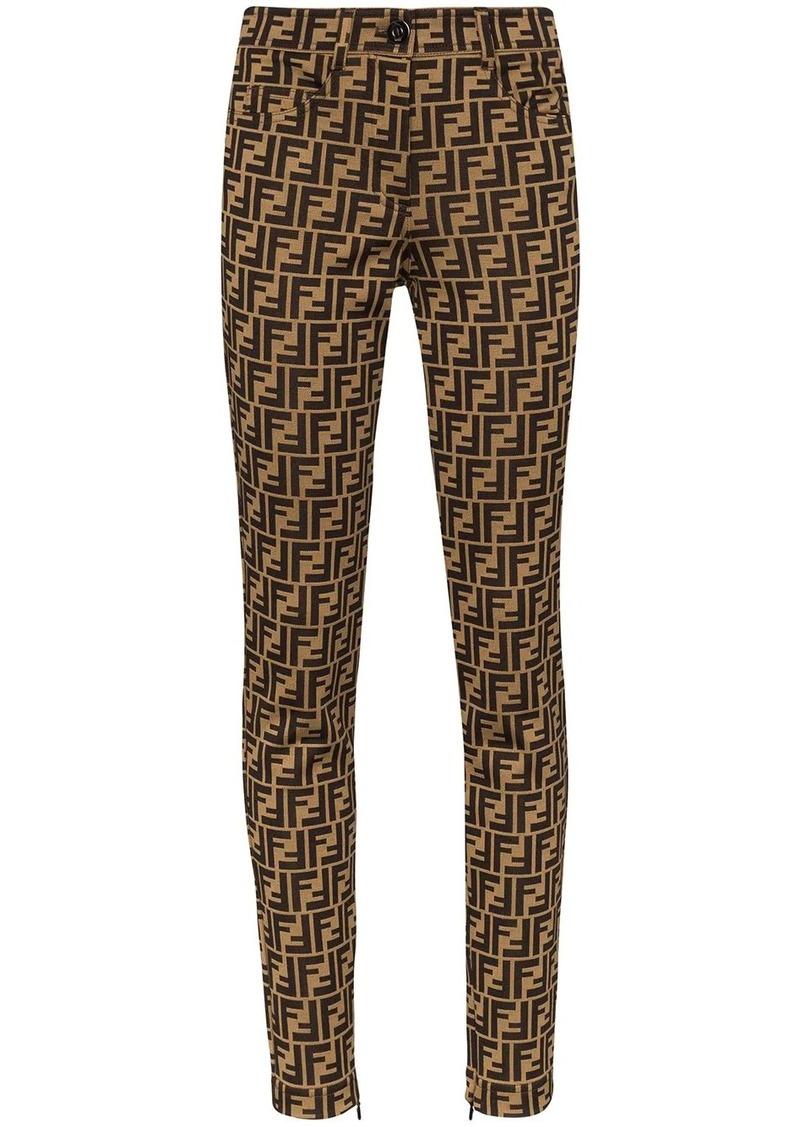 Fendi FF motif print skinny trousers