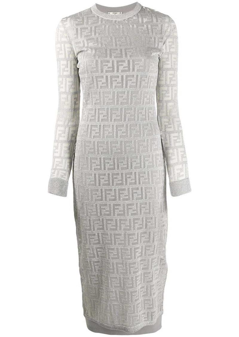 Fendi FF Pattern midi dress
