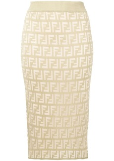 Fendi FF pattern midi skirt