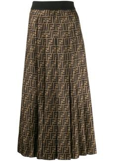 Fendi FF pleated midi skirt