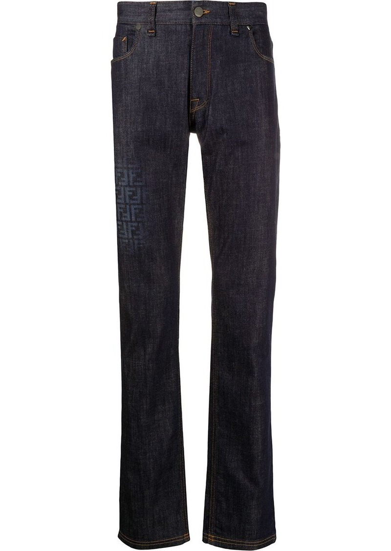 Fendi FF print straight-leg denim trousers