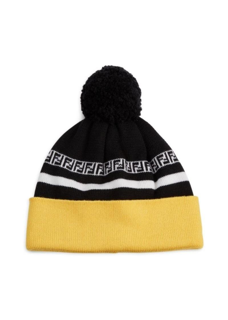90fe1f3798d64 Fendi FF Stripe Knit Pom Pom Wool Beanie