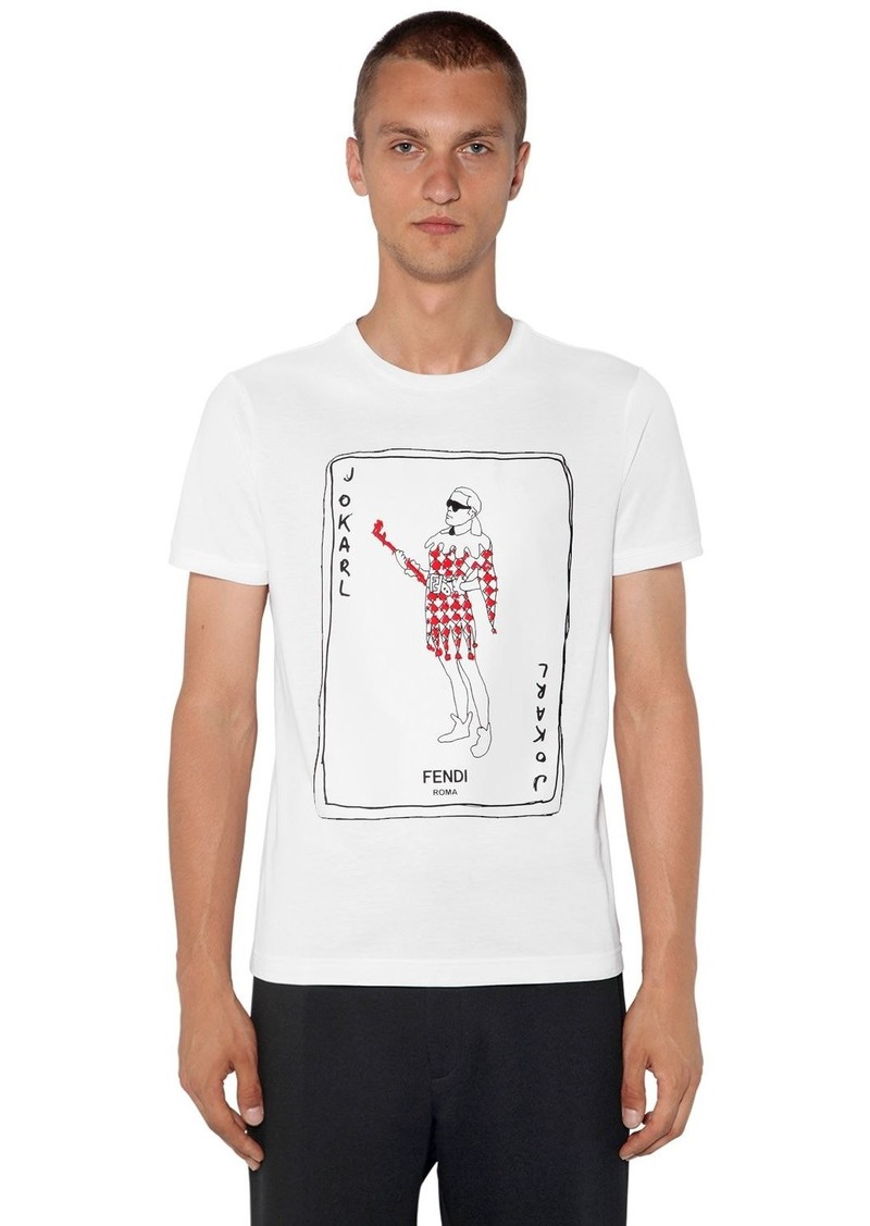 Fendi Fitted Karl Printed Cotton T-shirt