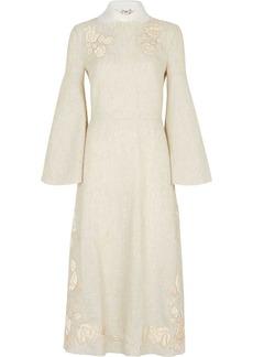 Fendi floral-embroidered linen dress
