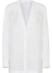 Fendi floral embroidery V-neck shirt