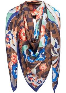 Fendi floral logo shawl scarf
