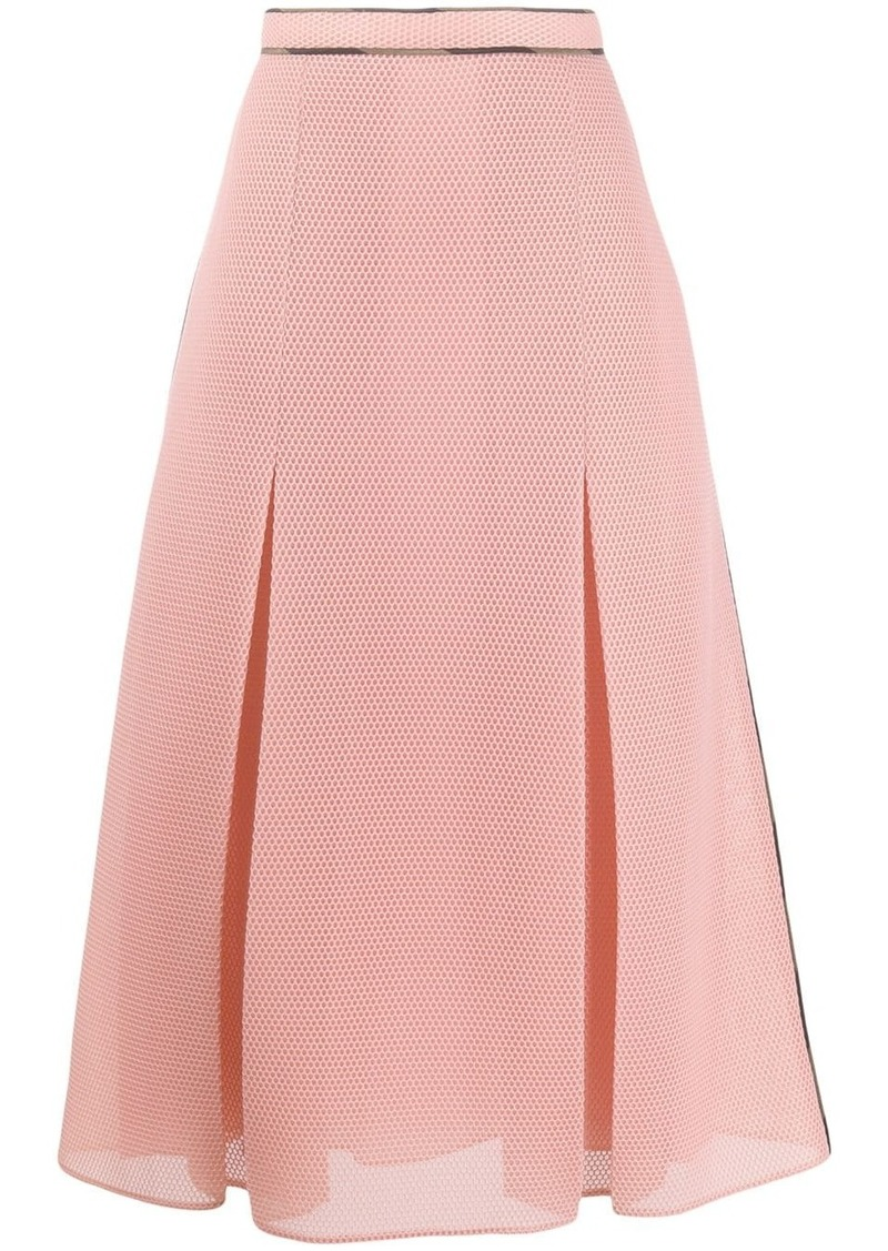 Fendi fold mesh flared skirt