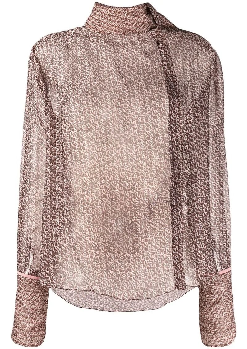 Fendi foulard collar monogrammed blouse