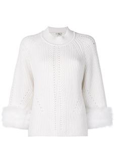 Fendi fox fur-trim cashmere sweater
