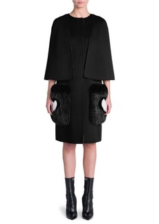 Fendi Fox-Trim Cape Coat