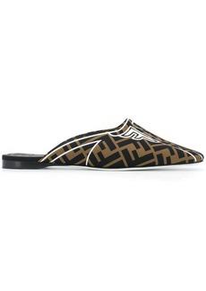 Fendi Freedom squared-toe slippers